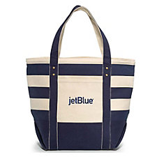 Seaside Zippered Cotton Tote - 21L x 16.5H x 9W