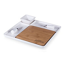 Peninsula Cutting Board and Serving Tray with Cheese Tools