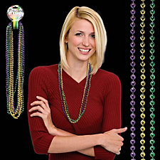 Assorted Mardi Gras Bead Necklaces - 33 in. - BLANK