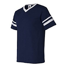 August V-Neck Jersey with Striped Sleeve - JetBlue / 17 / ATL