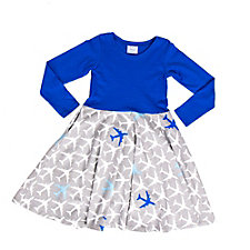 True Blue Airplanes Twirly Play Dress with Long Sleeves (1PC)