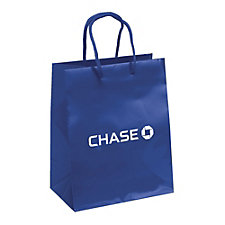 Crystal Paper Gloss Eurotote Bag - 7.75 in. W x 4.75 in. D x 9.75 in. H - Chase