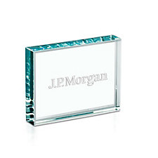 Starphire Banner Desk Award - 4 in. W x 3 in. H x .75 in. D - J.P. Morgan