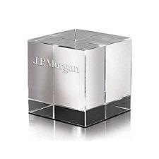 Crystal Cube Award - 2 in. W x 2 in. H x 2 in. D - J.P. Morgan