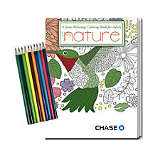 Stress Relieving Coloring Book and Pencil Set - Nature - 8 in. x 10.5 in. - Chase