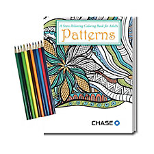 Stress Relieving Coloring Book and Pencil Set - Patterns - 8 in. x 10.5 in. - Chase