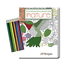 Stress Relieving Coloring Book and Pencil Set - Nature - 8 in. x 10.5 in. - J.P. Morgan
