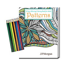 Stress Relieving Coloring Book and Pencil Set - Patterns - 8 in. x 10.5 in. - J.P. Morgan