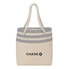 Capri Stripe Junior Cotton Canvas Rope Tote - 8 oz. - Chase