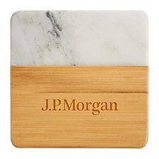 Marble and Bamboo Coaster Set - J.P. Morgan