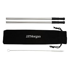 Reusable Stainless Steel Straw Set with Brush - J.P. Morgan