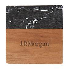 Black Marble and Wood Coaster Set - J.P. Morgan
