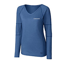Cutter & Buck Ladies Victory V-Neck Long Sleeve T-Shirt - Chase