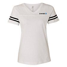 LAT Ladies Football V-Neck Fine Jersey T-Shirt - Chase