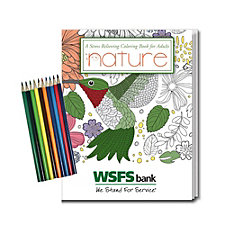 Stress Relieving Coloring Book and Pencil Set - Nature - 8 in. x 10.5 in. - WSFS