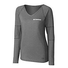Cutter & Buck Ladies Victory V-Neck Long Sleeve T-Shirt