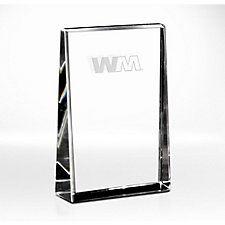 Clear Distinction Rectangle Crystal Award  - 4 in. W x 6 in. H x 1-3/8 in. D