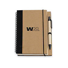 Recycled Notebook with Pen- 7 in. H x 5.5 in. W x 0.5 in. D