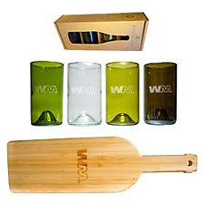 Refresh Glass Mixed Color Glasses and Bamboo Board Set - 16 oz.