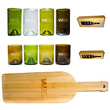 Refresh Glass Mixed Color Glasses and Bamboo Board Set - 12 oz. and 16 oz.