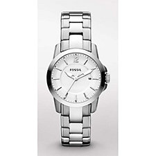 Ladies Fossil Silver Dress Watch