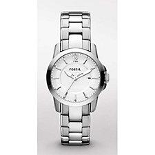 Ladies Fossil Silver Dress Watch