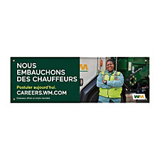 Vinyl Banner - Single-Sided - 5 ft. x 15 ft. - Now Hiring Drivers - French