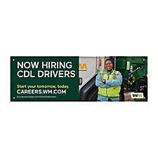 Vinyl Banner - Single-Sided - 5 ft. x 15 ft. - Now Hiring CDL Drivers