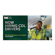Smooth Vinyl Banner - Single-Sided - 4 ft. x 8 ft. - Now Hiring CDL Drivers
