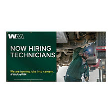 Smooth Vinyl Banner - Single-Sided - 4 ft. x 8 ft. - Now Hiring Technicians