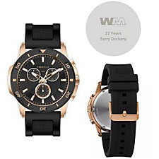 Caravelle Designed By Bulova Men's Chronograph Black Silicone Strap Watch