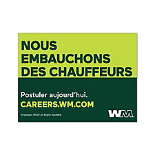 Corrugated Plastic Sign Single-Sided - 24 in. x 18 in. - Now Hiring Drivers - French