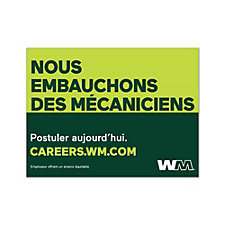 Corrugated Plastic Sign Double-Sided - 24 in. x 18 in. - Now Hiring Technicians - French