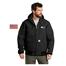 Carhartt Quilted-Flannel-Lined Duck Active Jacket with US Flag