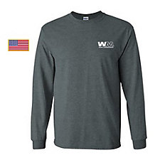 Gildan Ultra Cotton Long Sleeve T-Shirt with US Flag