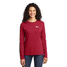 Port and Company Ladies Long Sleeve Core Cotton T-Shirt - Embroidered - Go Red Day